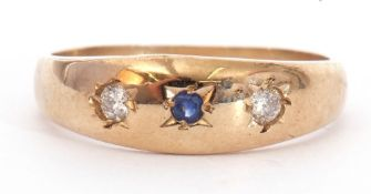 9ct gold diamond and sapphire ring, centring a small round sapphire flanked by two small brilliant