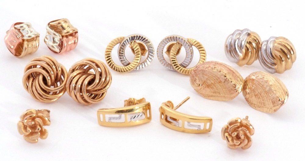 Mixed Lot: seven pairs of modern 9ct stamped and yellow metal earrings, all with post fittings, 9.