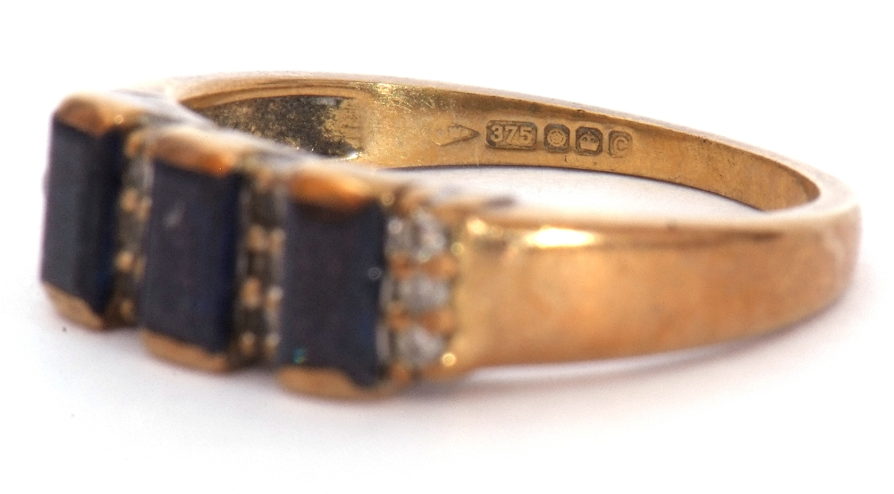 9ct gold, blue coloured stone and paste set ring, the design featuring three rectangular shaped - Image 7 of 7