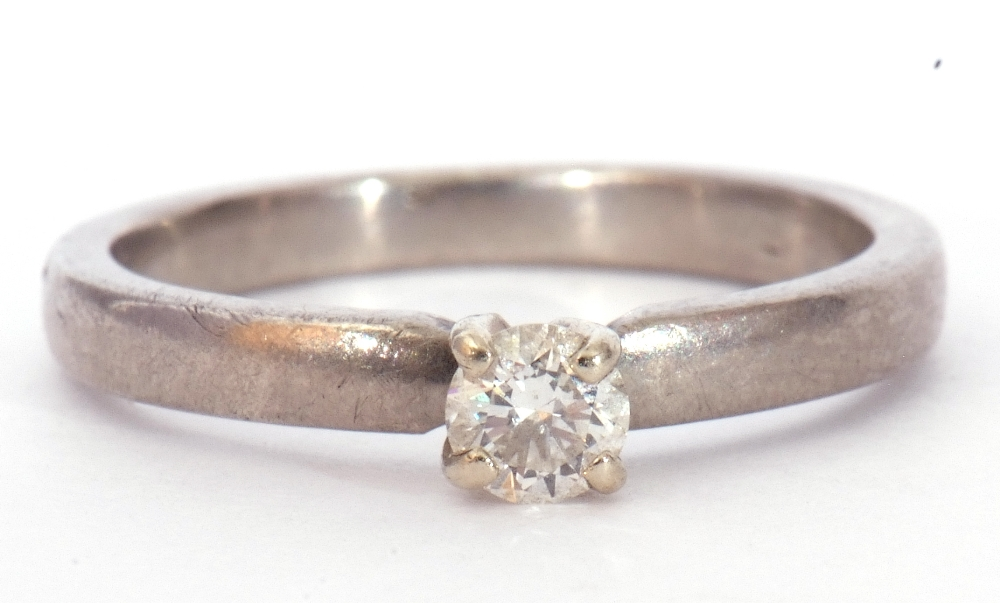 Precious metal single stone diamond ring featuring a round brilliant cut diamond, 0.20ct approx, - Image 2 of 7