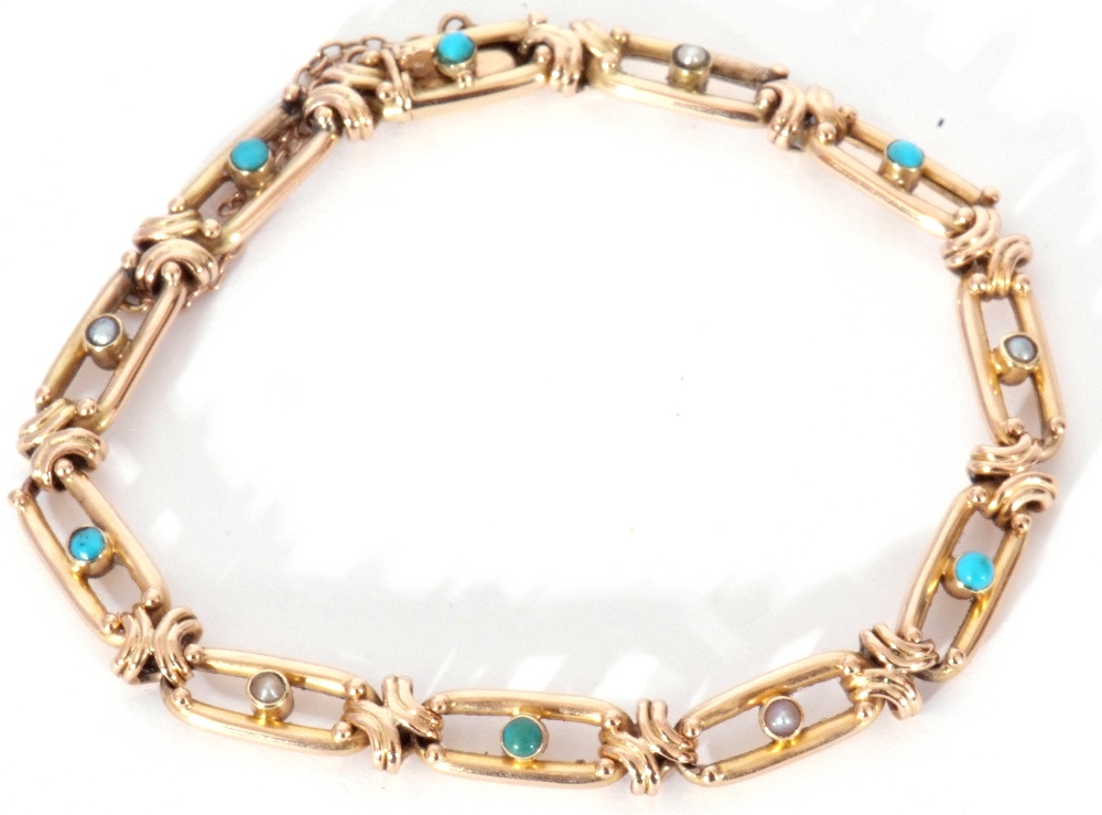 Vintage 15ct stamped bracelet, the oval open work links alternate set centring a turquoise and a - Image 4 of 6