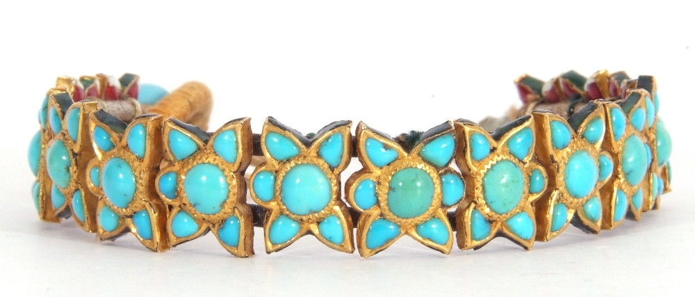 Probably Indian fabric backed yellow metal and turquoise star panelled bracelet, 15cm long (a/f) - Image 2 of 5