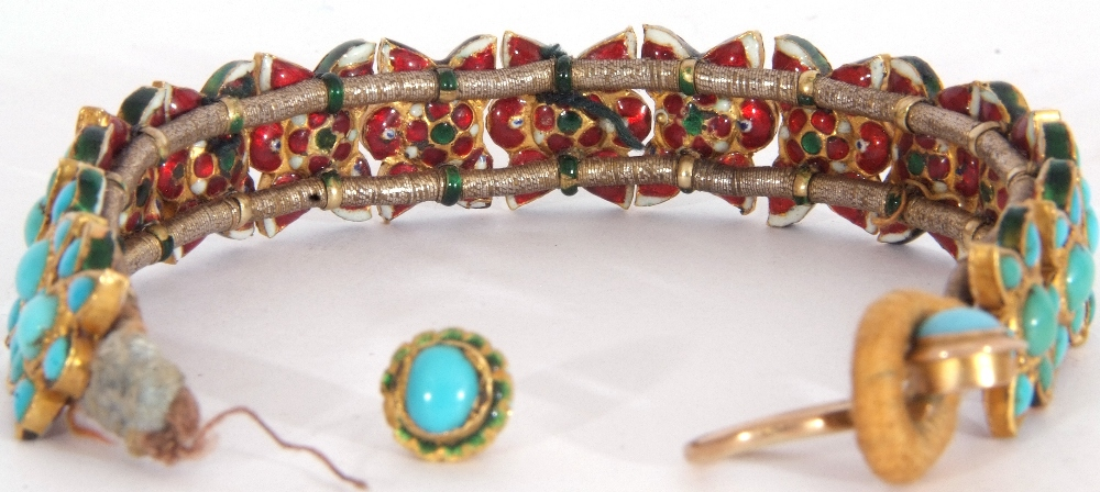 Probably Indian fabric backed yellow metal and turquoise star panelled bracelet, 15cm long (a/f) - Image 5 of 5