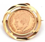 Vintage John F Kennedy In Memoriam coin, framed in a 585 stamped pendant/brooch mount, 3.2gms g/w