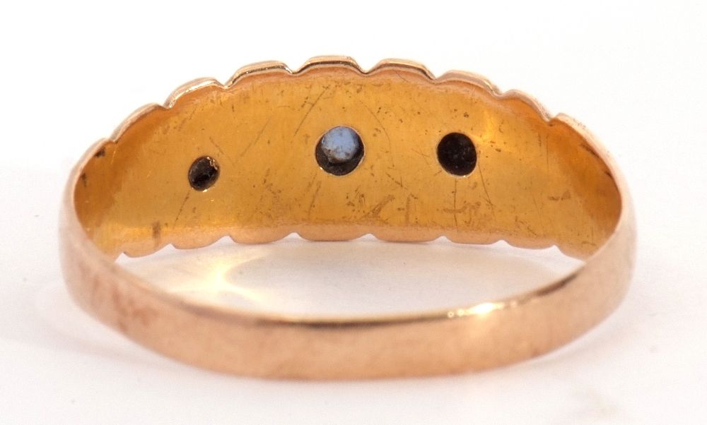 Edwardian 15ct gold, sapphire and diamond ring, alternate set with small graduated sapphires and two - Image 5 of 8
