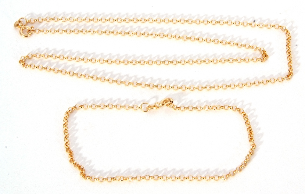 Mixed Lot: a 750 stamped belcher link necklace, with matching 750 stamped bracelet, 6.4gms g/w