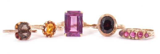 Mixed Lot: five 9ct gold rings, a five stone small ruby ring, garnet, citrine, and quartz