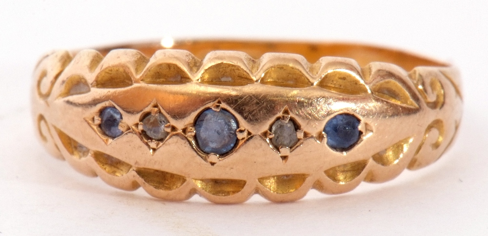 Edwardian 15ct gold, sapphire and diamond ring, alternate set with small graduated sapphires and two - Image 2 of 8