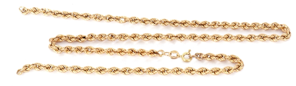 9ct gold rope twist chain, (broken), 5gms