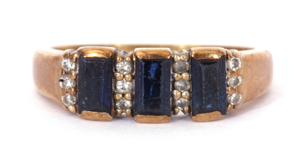 9ct gold, blue coloured stone and paste set ring, the design featuring three rectangular shaped