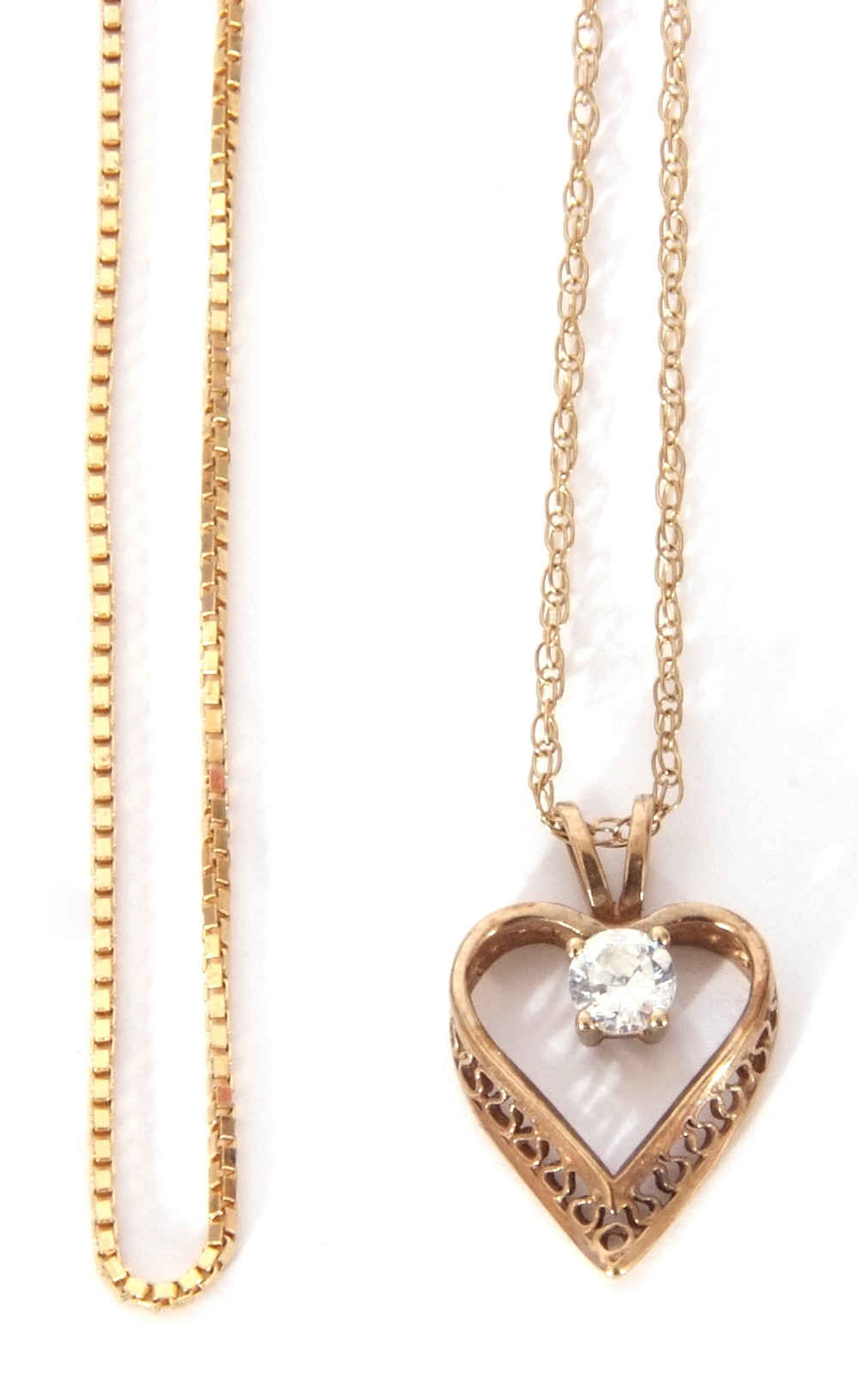Mixed Lot: modern heart and paste set pendant suspended on a 9ct stamped trace chain, together