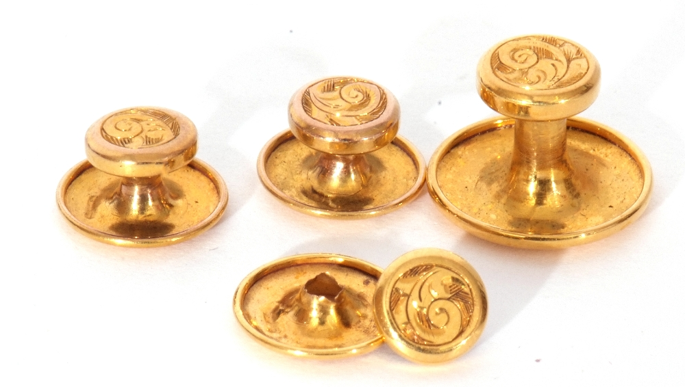 Set of four 9ct gold dress studs in original velvet lined and tooled leather case (one a/f), 2.6gms - Image 2 of 3