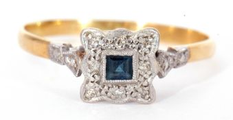 An Art Deco sapphire and diamond ring, centring a small calibre cut square sapphire within a small
