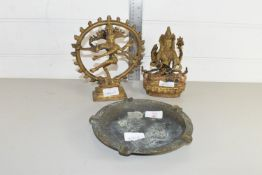 TWO ORIENTAL MODELS OF BUDDHA AND A BRASS ASHTRAY
