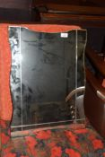SMALL FRAMELESS OVERMANTEL MIRROR, APPROX 61 X 46CM