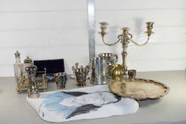 TRAY CONTAINING PLATED WARES, CANDELABRA, PEWTER MUGS ETC