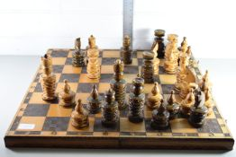 LARGE WOODEN CHESS BOARD WITH QTY OF CHESSMEN
