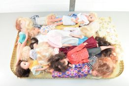 TRAY CONTAINING BARBIE TYPE DOLLS