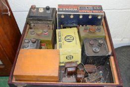 BOX CONTAINING RADIO EQUIPMENT, VARIOUS METERS, BATTERY PACKS ETC