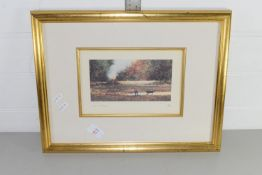 PRINT SIGNED BY JOHN BOND OF A GARDENING SCENE, LIMITED EDITION 198/500