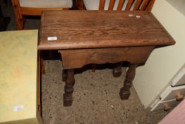 VINTAGE OAK JOINTED TABLE WITH TURNED LEGS, APPROX 67 X 31CM