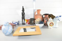 BOX CONTAINING MISC CERAMICS, MODEL OF A CAT, LARGE STONEWARE EWER ETC