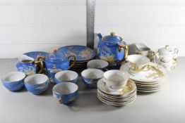 JAPANESE PORCELAIN TEA SET, THE BLUE GROUND WITH FLORAL DESIGN, TOGETHER WITH FURTHER JAPANESE