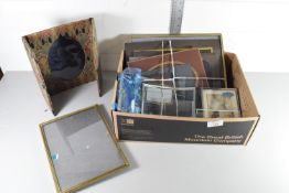 BOX CONTAINING PHOTOGRAPH FRAMES AND A CLOTH FRAME BY LIBERTY WITH ART NOUVEAU DESIGN, THE BACK