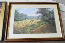 PRINT OF A HARVESTING SCENE BY RON BEATON