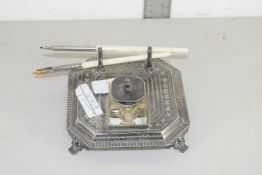 GLASS INKWELL WITH PLATED STAND