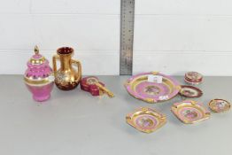 MINIATURE PORCELAIN WARES WITH PINK GROUND INCLUDING SMALL VASE AND COVER, TWO SMALL ASHTRAYS ETC