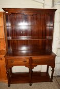 LARGE STAINED WOOD DRESSER, WIDTH APPROX 122CM