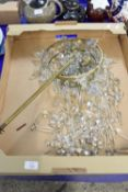 TRAY CONTAINING GLASS DROPLETS FOR CHANDELIER