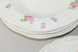 MIXTURE OF CERAMICS, DINNER PLATES, SERVING DISHES WITH ROSE DESIGN