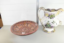 LARGE 19TH CENTURY JUG TOGETHER WITH A POTTERY BOWL