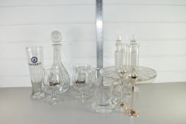 GLASS TAZZA AND OTHER GLASS BOWLS AND A DECANTER WITH STOPPER