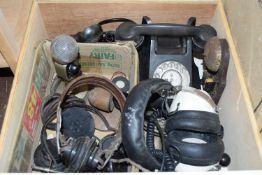 BOX CONTAINING TELEPHONE AND MICROPHONE EQUIPMENT, HEAD SETS ETC
