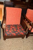 EARLY TO MID 20TH CENTURY OAK EASY CHAIR WITH BARLEY TWIST DECORATION, WIDTH APPROX 73CM MAX