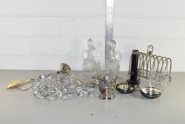 BOX CONTAINING PLATED TOAST RACK, GLASS KNIFE RESTS, ETC