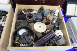 WOODEN BOX CONTAINING VINTAGE RADIO EQUIPMENT, GAUGES, FUSE WIRES, FUSES ETC