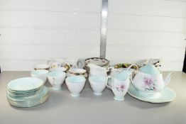 TRAY CONTAINING MAINLY CERAMICS, TEA WARES, CUPS, SAUCERS, TEA POT, IN FLORAL DESIGN BY ROYAL