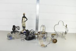 SMALL BOX CONTAINING MAINLY SILVER METAL AND PLATED WARE, CONDIMENT SETS ETC