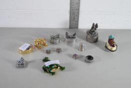 SMALL METAL FIGURES AND A PILL BOX
