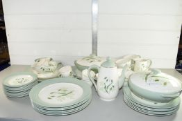 TEA SET AND PART DINNER SERVICE BY COPELAND SPODE IN THE SOFT WHISPERS PATTERN COMPRISING CUPS,