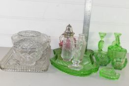 TRAY CONTAINING QTY OF GLASS WARES, SMALL CRANBERRY GLASS JUG, ROSE BOWLS ETC