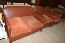 MID-20TH CENTURY LEATHERETTE THREE PIECE SUITE COMPRISING TWO SEATER SOFA AND TWO MATCHING CHAIRS,