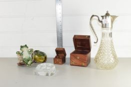 CUT GLASS CARAFE WITH PLATED MOUNT, POTTERY MODEL OF A FROG ETC