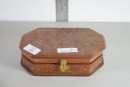 WOODEN BOX CONTAINING COSTUME JEWELLERY