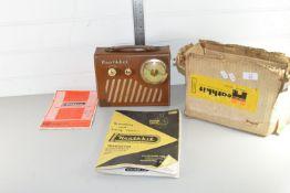 BOX CONTAINING RADIO EQUIPMENT INCLUDING EARLY PORTABLE RADIO IN ORIGINAL BOX