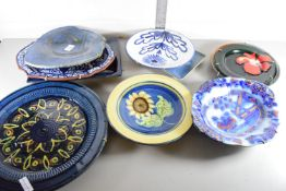 TWO STUDIO POTTERY DISHES AND A ROYAL WORCESTER DISH AFTER CLAUDE MONET